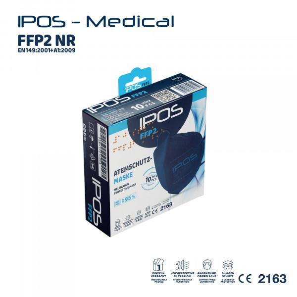 10er Box Blau IPOS FFP2 Atemschutzmaske (EINZELVERPACKT)