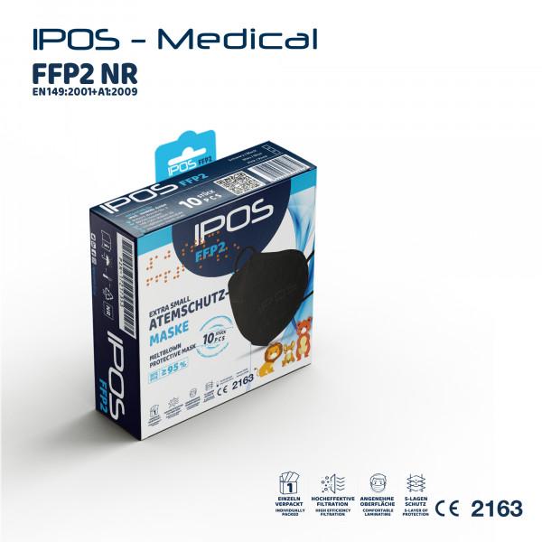 10er Box IPOS-FFP2 Extra Small schwarz ATEMSCHUTZMASKE (EINZELVERPACKT)